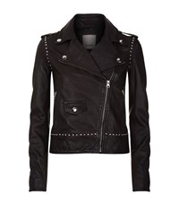 Pinko Studded Leather Biker Jacket Female Black