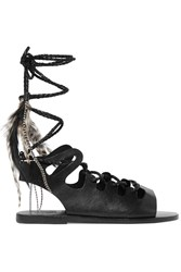 Ancient Greek Sandals Caravana Antigone Tulum Feather Embellished Leather Sandals Black