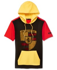 Hudson Nyc Men's Pushers Colorblocked Graphic Print Hoodie Red Yellow Multi