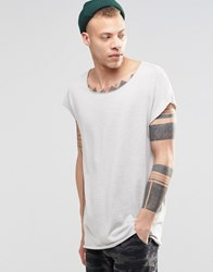 Asos Oversized Sleeveless T Shirt In Textured Fabric With Raw Edges Sable Brown