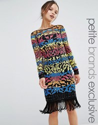 Maya Petite Long Sleeve Multi Colour Sequin Mini With Tassel Hem Multi
