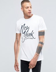 Solid Marl Crew Neck T Shirt With Graphic Print White 0001