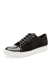 Lanvin Suede And Patent Leather Low Top Sneaker Black