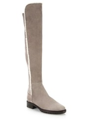 Stuart Weitzman 5050 Parka Suede And Stretch Faux Shearling Trimmed Over The Knee Boots Topsue