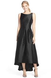 Women's Alfred Sung High Low Hem Sateen Twill Open Back Gown Black