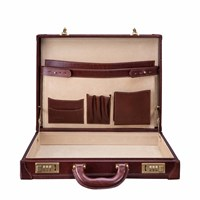 Maxwell Scott Bags The Scanno Luxury Slim Leather Attache Case Chestnut Tan Brown