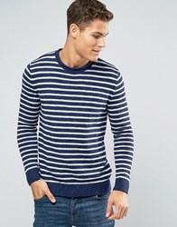 Abercrombie And Fitch Crew Jumper Textured Stripe Knit In Navy Navy Stripe