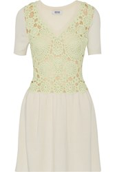 Moschino Cheap And Chic Crochet Paneled Knitted Wool Dress Nude
