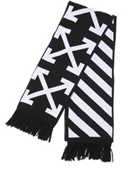 Off White Stripes And Arrows Wool Blend Scarf