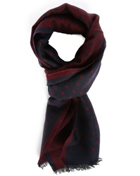 Hartford Burgundy Blue Double Faced Polkadot Silk Wool Scarf