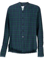 Greg Lauren Plaid Frayed Hem 'Black Watch' Studio Flannel Button Down Shirt Green