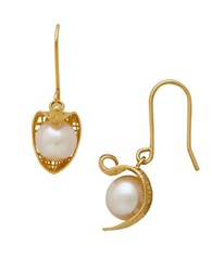 Lord And Taylor Gold Rush 14K Pdc Yellow Gold Wrapped Fresh Water Pearl Drop Earrings