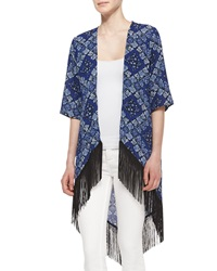Romeo And Juliet Couture Printed Long Fringe Kimono Navy Ivory