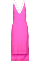 Dion Lee Cutout Neon Silk Crepe De Chine Midi Dress Fuchsia