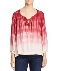 Side Stitch Lace Up Tie Dye Blouse Burgundy
