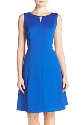 Women's Ellen Tracy Keyhole Front Scuba Fit And Flare Dress
