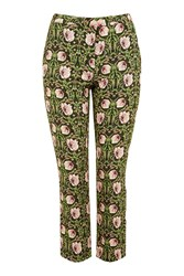 Topshop Woodland Twine Crop Trouser Green