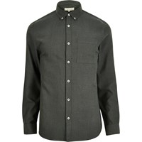 River Island Mens Green Flannel Long Sleeve Shirt