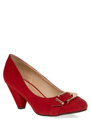 Evans Extra Wide Fit Red Suedette Buckle Heel