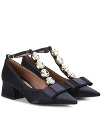 Marni Crystal Embellished Satin Pumps Blue