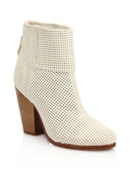 Rag And Bone Classic Newbury Perforated Leather Boots White Black