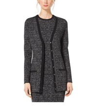 Michael Kors Tweed Merino Wool Cardigan Charcoal