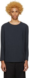 Christophe Lemaire Blue Wool Seersucker Pullover