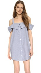 Clu Off The Shoulder Shirtdress Blue White Stripe