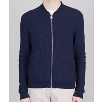Folk Honeycomb Blue Zip Cardigan