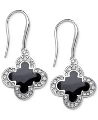Macy's Marie Claire Silver Tone Black Enamel And Cubic Zirconia Clover Earrings 2 5 Ct. T.W.