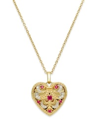 Macy's Ruby 1 5 Ct. T.W. And Diamond Accent Heart Pendant Necklace In 14K Gold