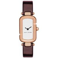 Marc Jacobs Women's Rectangular Leather Strap Watch Burgundy White