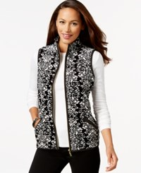 Charter Club Printed Velour Vest Only At Macy's Deep Black