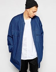 Asos Super Longline Denim Jacket With Chunky Zip Blue