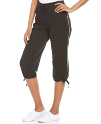 Style And Co. Sport Piped Drawstring Hem Capri Sweatpants Black Mint Green