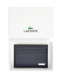 Lacoste Navy Card Wallet With Yellow Stitching On The Front