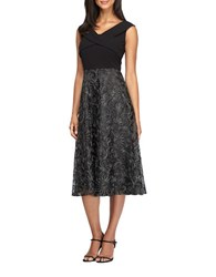 Alex Evenings Plus Cap Sleeve Embroidered Tulle A Line Dress Black Silver