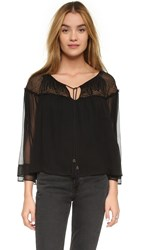 Twelfth St. By Cynthia Vincent Metallic Georgette Top Black