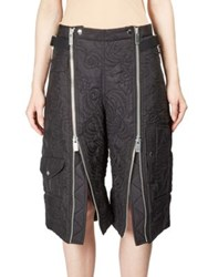 Sacai Floral Quilted Zip Cargo Shorts Black