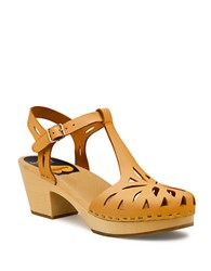 Swedish Hasbeens Lacy Platform Leather Sandals Beige