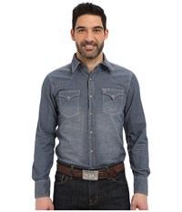 Stetson Indigo Chambray Blue Men's Long Sleeve Button Up