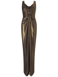 Ariella Davina Foil Maxi Dress Black Gold