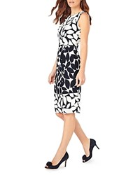 Phase Eight Leora Leaf Print Dress Navy Ivory
