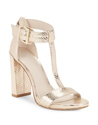 Kenneth Cole Daisy Metallic T Strap Sandals Gold