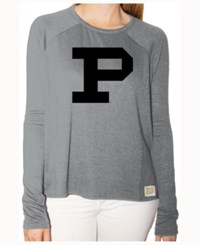 Retro Brand Women's Purdue Boilermakers Glitter Arch Long Sleeve T Shirt Gray