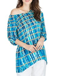 Joan Vass Painterly Striped Off The Shoulder Top Blue Multi