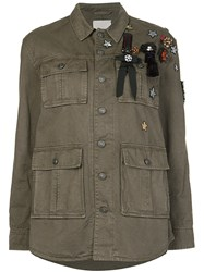 Cinq A Sept Patch Detail Military Jacket Green