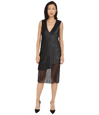 Prabal Gurung Dusted Pailette Sleeveless Dress W Sheer Overlay Black