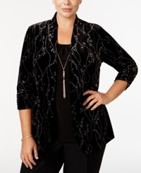 Ny Collection Plus Size Glitter Velvet Layered Look Top Silver Twist Tie