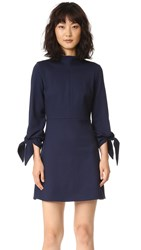 Tibi Bond Stretch Mock Neck Tie Sleeve Dress Midnight Navy